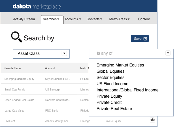 Marketplace search by asset class